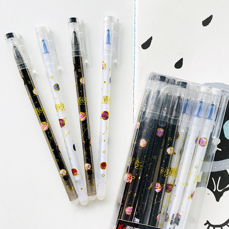 2pcs Cute Starry Sky Erasable Gel Pen Rollerball Pen School Office Supply Student Stationery 0.5mm Blue Ink