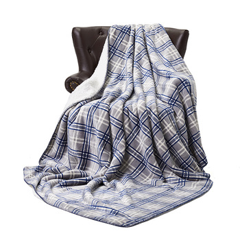 Warm Thick Office Home Blanket Towel Fleece Reversible Plaid Blanket For Bed Couch Travel Portable Car Throw Blanket