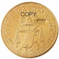 Moneda de copia chapada en oro 1916, PEOSO, México, 60