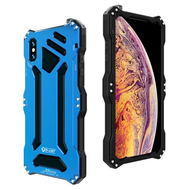 Funda protectora de doble capa para teléfono iPhone, carcasa de aleación de aluminio y Metal para teléfono iPhone XS Max XR X 6 6S 7 8 Plus 5 5S 5C SE