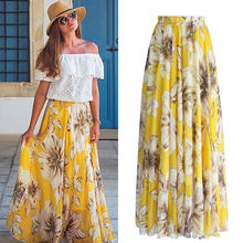 Elegant Chiffon BOHO Womens Floral Jersey Gypsy Long Maxi Full Skirt Holiday Bea