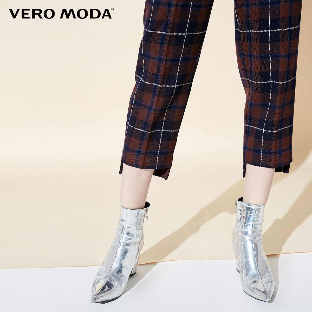 Vero Moda 2019 Новое поступление брюки женские Женские клетчатые широкие повседневные Капри   31846J523
