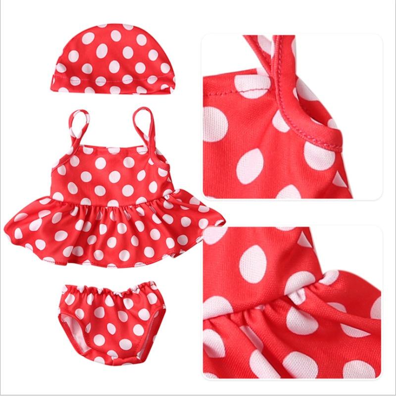 Geboren Nieuwe Babypop Kleding Fit 18 Inch 43Cm Pop Rode Lippen Van Flaming Tetrafolium Badpak Accessoires Voor Baby verjaardagscadeau