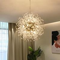 Modern LED chandelier Lighting Romantic Crystal Dandelion Living Room Dining Room Bedroom Chandelier golden silver hanging light