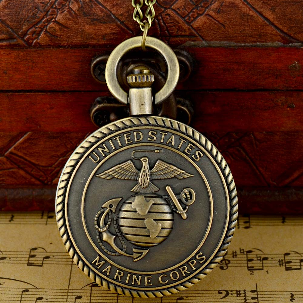Vintage Bronze Mens Watches United States Navy Marine Corps Pocket Watch Best Gifts For Men Boys Retro Military Man Unisex Gifts