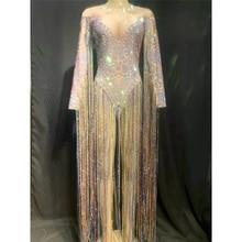 Nightclub Women Singer Dance Costume Colorful Tassel Sleeve Rhinestones Bodysuit