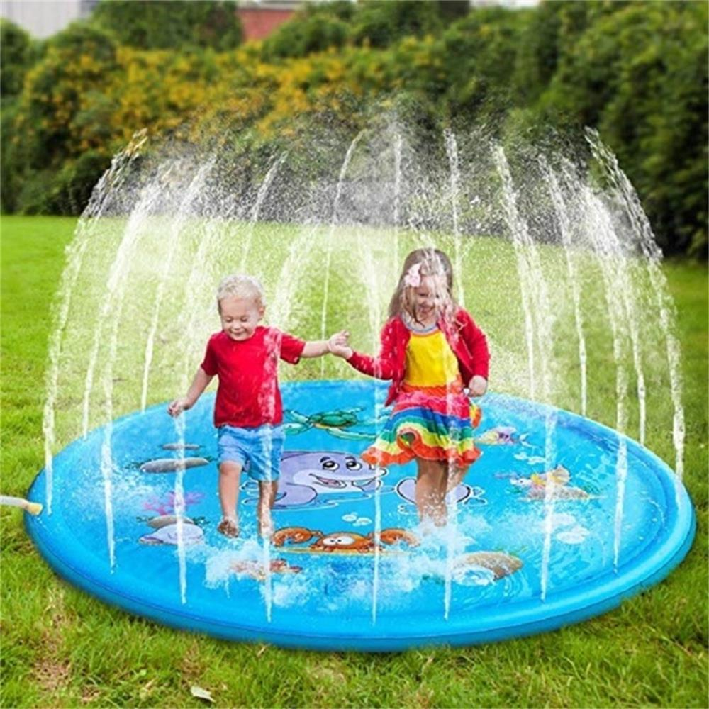 170/150/100cm Children Play Water Mat Games Beach Pad Children Baby Play Game Outdoor Inflatable Spray Water Sprinkler Mat