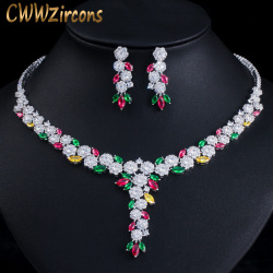 CWWZircons Multicolor Cubic Zirconia Dangle Drop Flower Women Wedding Evening Costume Necklace Earrings Bride Jewelry Sets T387