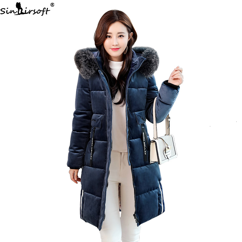 Cotton Soft Gold Velvet In The Long Code New Down Jacket Woman Fashion Wild Slim Winter Thick Hooded Warm Clothes Coat Women