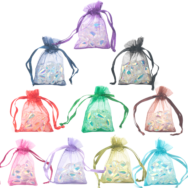 100pcs/lot 5x7 7x9 9x12cm Organza Bags Jewelry Packaging Wedding Decoration Christmas Gift Bag Pouches 23 Colors