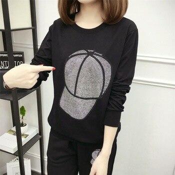 DONAMOL de talla grande 2020 Sudadera negra Hip Hop Casual de perforación caliente sudaderas con capucha ropa de mujer pulóver camisetas de manga larga