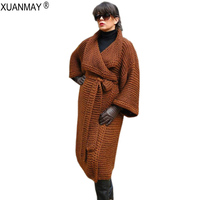 Winter Women's Thick Long Style Cardigan Sweater coat Loose Long Style Sweater Shawl Cozy warm White Thick Extra Warm Sweater