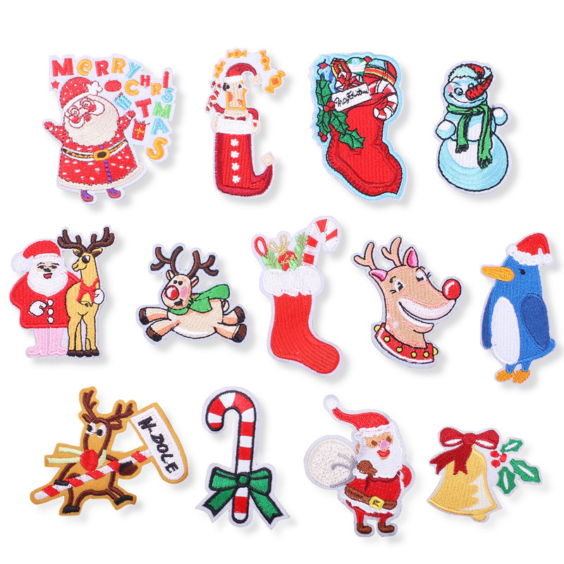 Embroidery Patch New Christmas Series Embroidered Cloth Stickers Santa Claus Crystal Ball Cloth Clothing Accessories Patch Stick