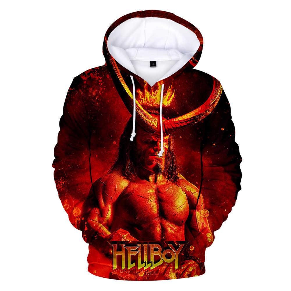 3D bluzy mężczyźni kobiety Hellboy: wzrost krwi Queen 2019 3D drukuj jesień nowa moda na co dzień bluzy osobowości 3D bluza z kapturem