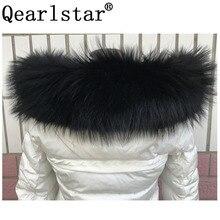 2020 New 100% Real Raccoon Fur Collar For Parkas Genuine Women Men Big Size Fur Black Scarves Coats Hood Scarf 70cm 75cm Zxx88