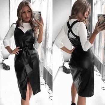 Women Sashes Pu Leather Club Sexy Dress Back Cross Spaghetti Strap Fashion Lady Elegant Dress Knee Length 2019 Vintage v Neck 2