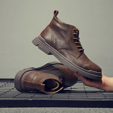 Yomior High Quality Genuine Leather Men Shoes Spring Winter Casual Ankl