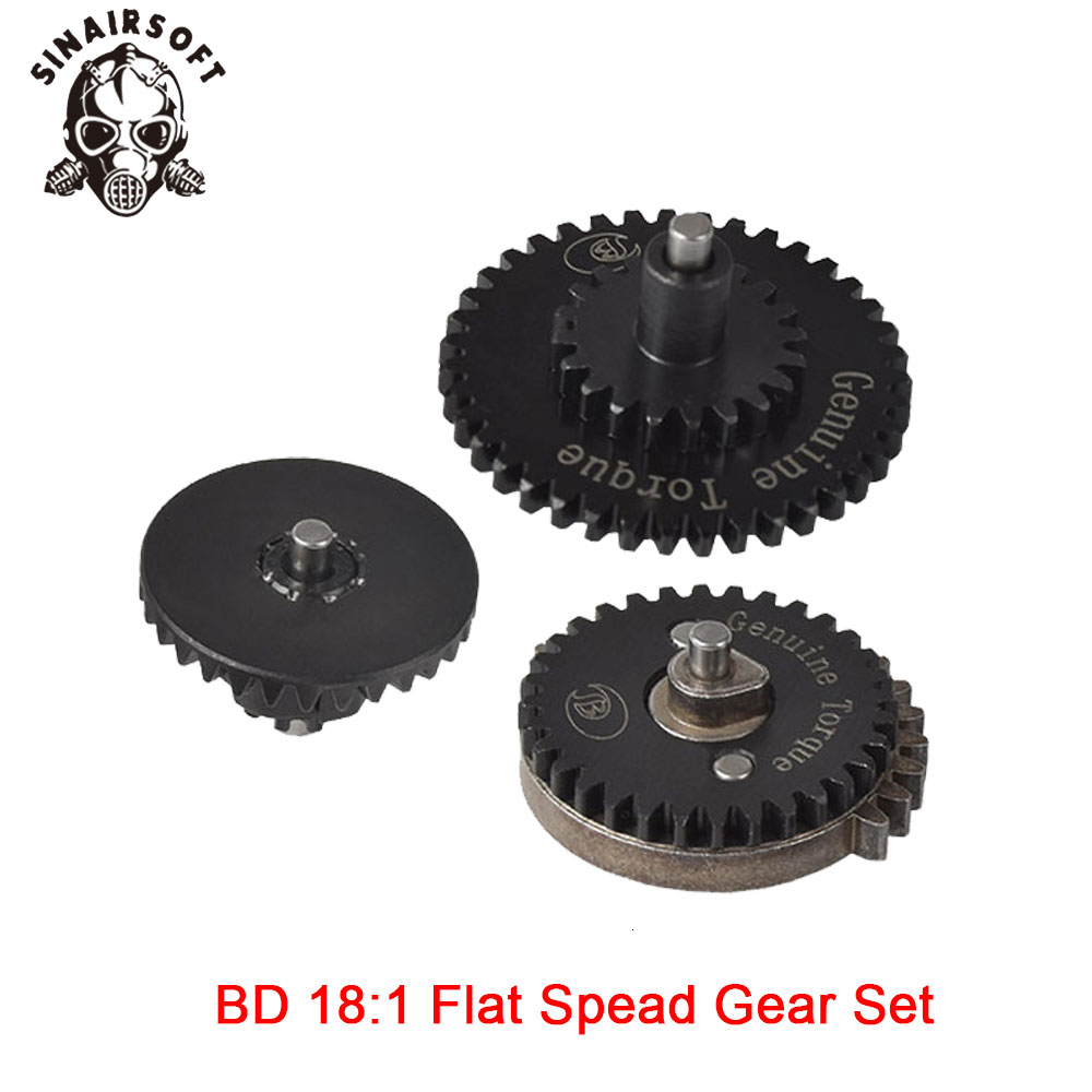 Hot BD High Quality CNC 18:1 Flat Speed Gear Set Fit Ver.2 / 3 AEG Airsoft Gearbox For Hunting Paintball Shooting