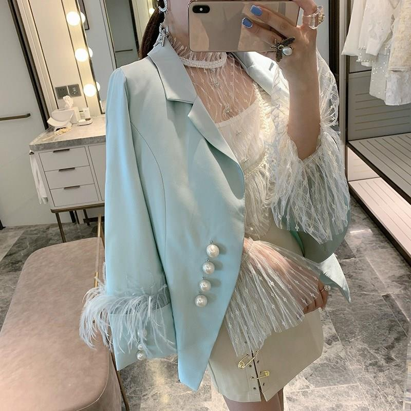 Pearl Button Feather Cuff Blazer Suit Women Outfit Single Breasted Long Sleeve Luxury Coat