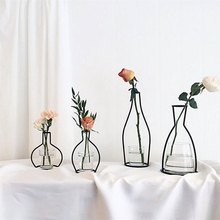 Vases Plant-Holder Table-Flowers Iron-Line Nordic-Decoration Styles Metal Retro 8-Shapes