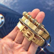 Pulsera de Número Romano de acero y titanio para hombre, brazalete con hebilla, hecho a mano, 4 unidades