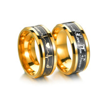 Womens Mens Love You Forever ECG Rings Gold Color Stainless Steel Wedding Engagement Promise Rings for Women Men Couple Jewelry gold stainless steel you