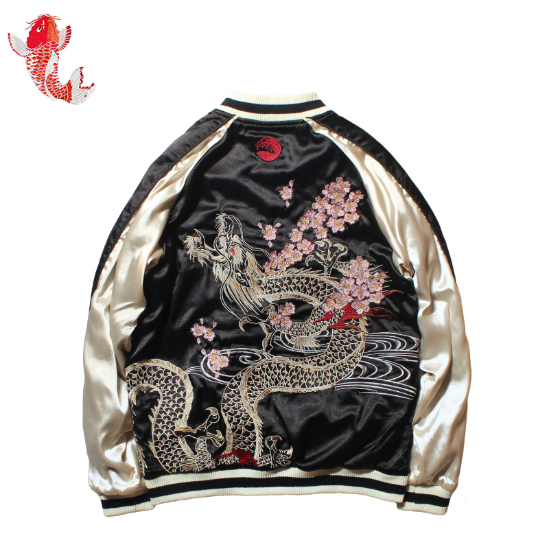 2020 New Spring Autumn Women's Cherry Dragon Embroidered Both Sides Wear Bomber Jacket Men and Women Couples Baseball Coat image