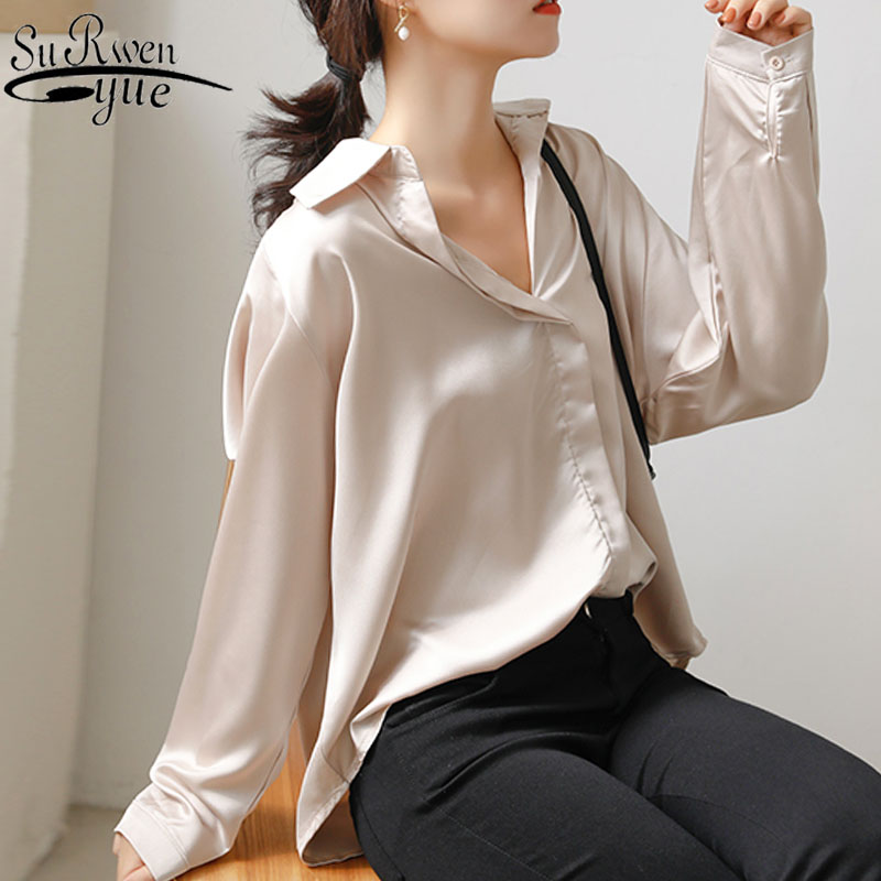 Spring Blouses Women 2020 Office Black Top Solid V-Neck Vintage Korean Fashion Clothing Ladies Tops Button Chiffon Shirt 7977 50
