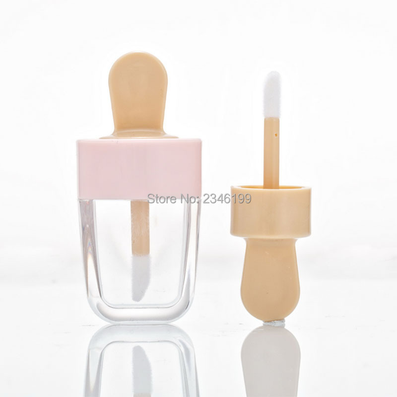 Pink Ice Cream Clear Lip Gloss Tubes 5ML 7ML 10ML Lip Gloss Tubes With Wands 10pcs Empty Liquid Lipstick Container image