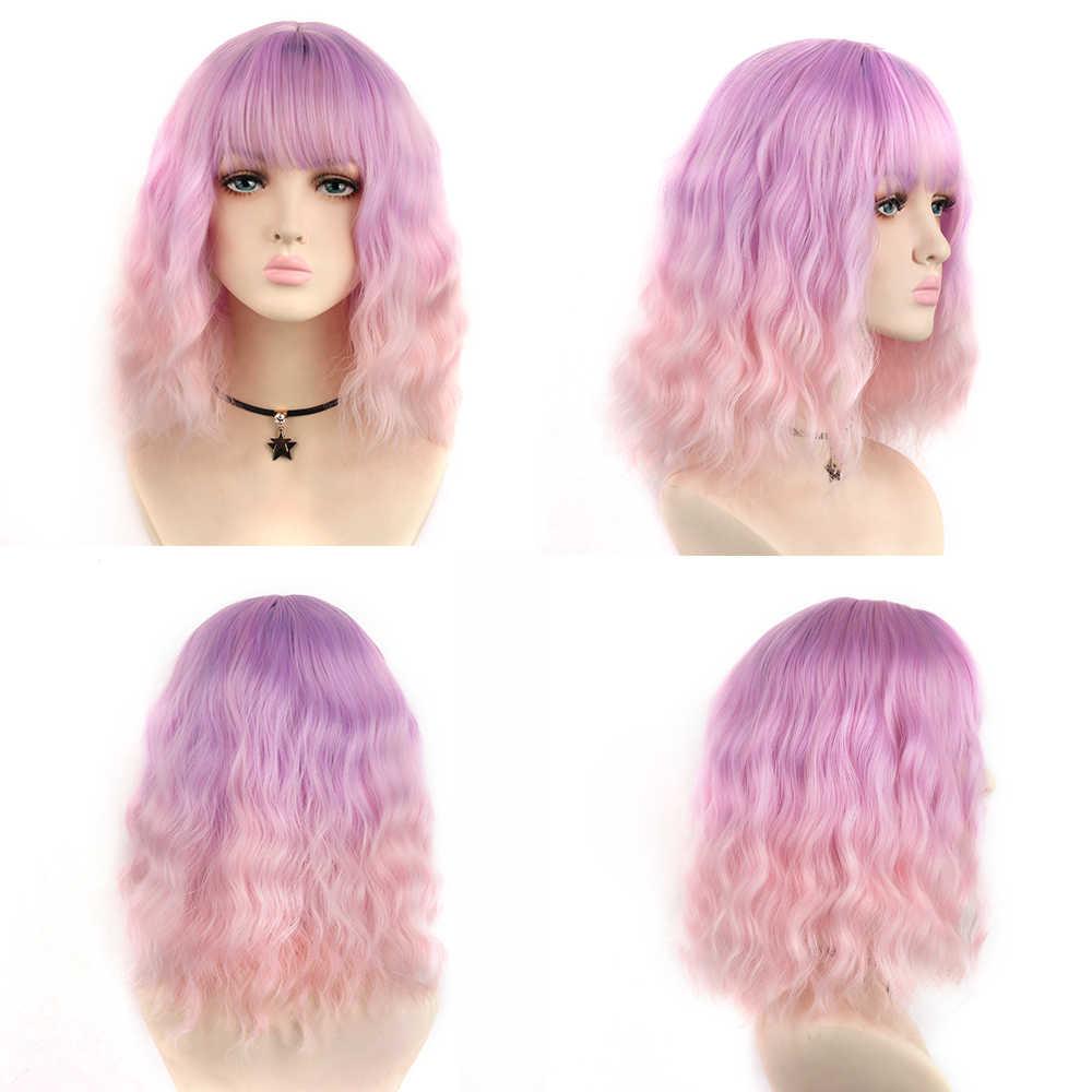 Aiyee peruca curta ondulada, bob para mulheres, cabelo sintético, africano, americano, com franja, resistente ao calor