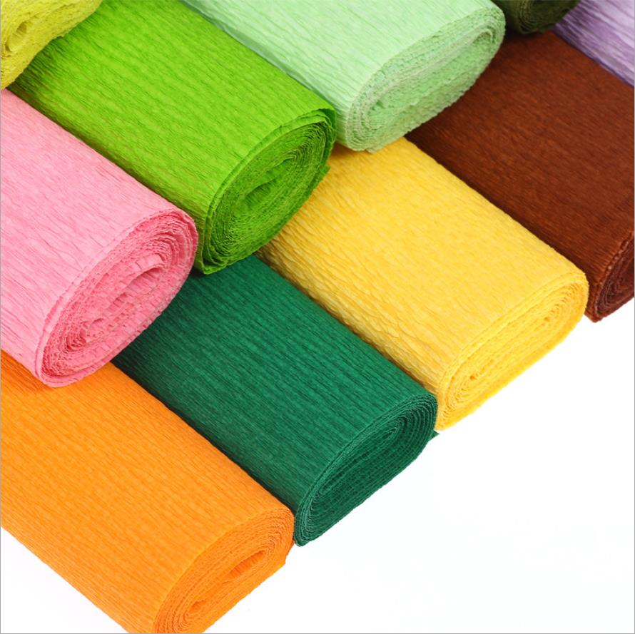 High Quality  Decorative Crinkled Crepe Paper Craft DIY Flower Make Wrapping Fold Scrapbooking Party Cake DIY Decoration