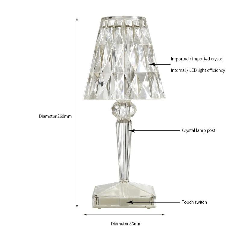 Usb diamante lâmpada de mesa acrílico decoração