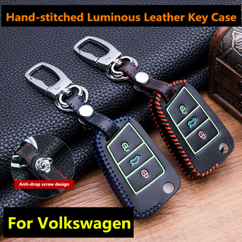 Leather Car Key Case Cover For <font><b>VW</b></font> <font><b>Golf</b></font> <font><b>7</b></font> <font><b>GTI</b></font> MK7 Octavia A7 Seat Leon Ibiza Flip Remote Key Wallet Keychain Free Shipping shell image