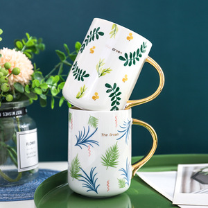 FUNBAKY 480 мл короткая кружка с зелеными листьями для женщин и мужчин, кружка для кофе с молоком и золотой кружка для пива с ручкой