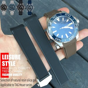 22mm New Style Rubber Silicone Watch Strap Black Blue Brown Watchband Suitable for Tag Heuer CARRERA AQUARACER Series Watch(China)