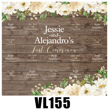 Wooden board flowers wedding photo backdrop customize bridal banner background party supplies photo props VL155