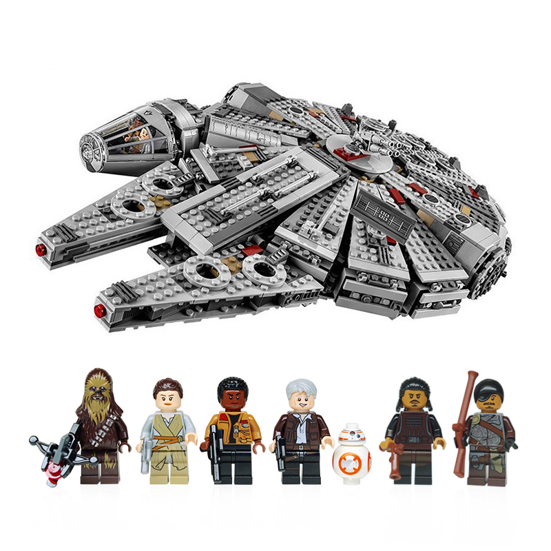 IN STOCK 1381pcs Compatible Star Wars Millennium 05007 Falcon Spacecraft Building Blocks Birthday Gift Legoinglys Toys