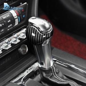 Image 3 - Airspeed สำหรับ Ford Mustang คาร์บอนไฟเบอร์สติกเกอร์ Ford Mustang อุปกรณ์เสริม 2015 2016 2017 2018 2019 ภายในเกียร์ Shift Knob Cover