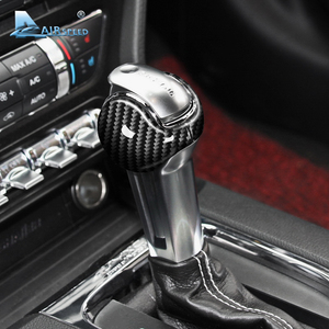 Image 3 - Airspeed for Ford Mustang Carbon Fiber Sticker Ford Mustang Accessories 2015 2016 2017 2018 2019 Interior Gear Shift Knob Cover