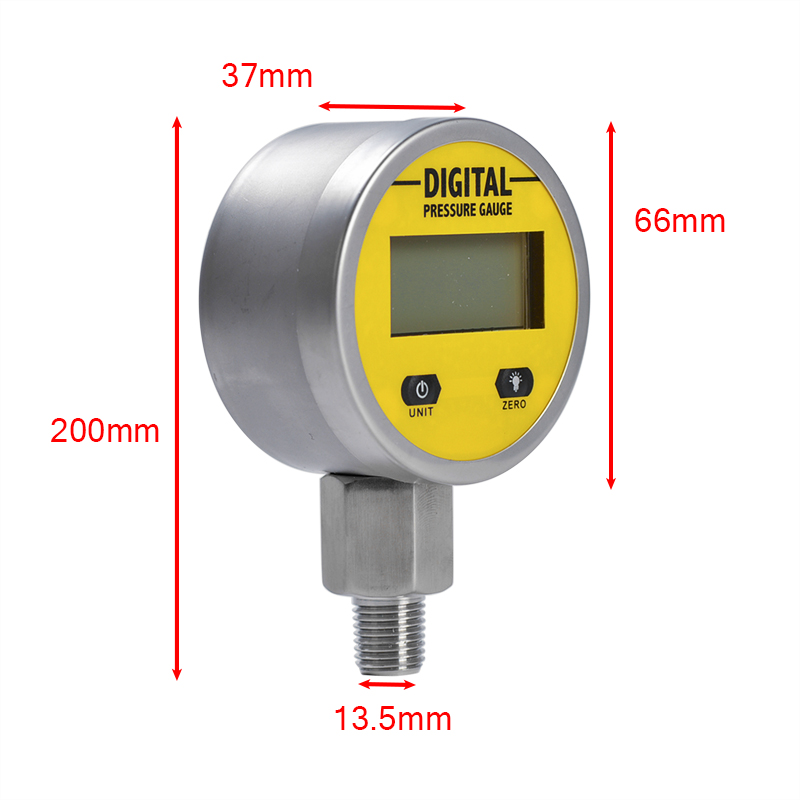 Tools : Pressure Gauges Digital Display Oil Pressure Hydraulic Pressure Test Meter 3V 250BAR 25Mpa 2 Points Thread For Gas Water Oil