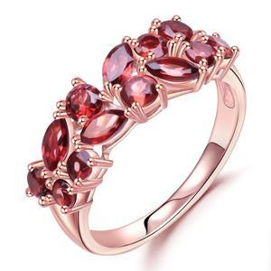 Image 2 - GEMS BALLET 925 Sterling Silver Rose Gold Plated Wedding Band 2.47Ct Natuurlijke Rode Granaat Edelsteen Ringen voor Vrouwen Fijne Sieraden