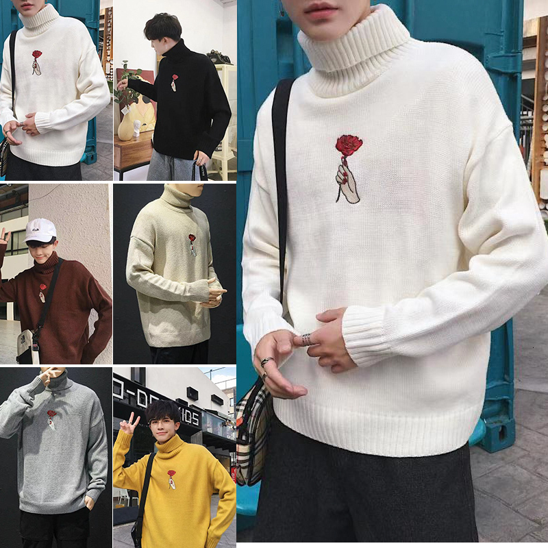 Winter Thick Turtleneck Sweater Men Warm Fashion Flower Embroidery Knitted Pullover Mens Wild Loose Male Sweter Clothes M-3XL