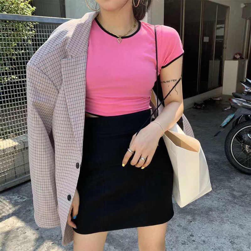 Jennie Top Zomer 2020 Kawaii Streetwear Zwart Roze Blauw Tshirt Harajuku Strap Crop Top Sexy Vrouwen Kleding Vetement Femme Mujer