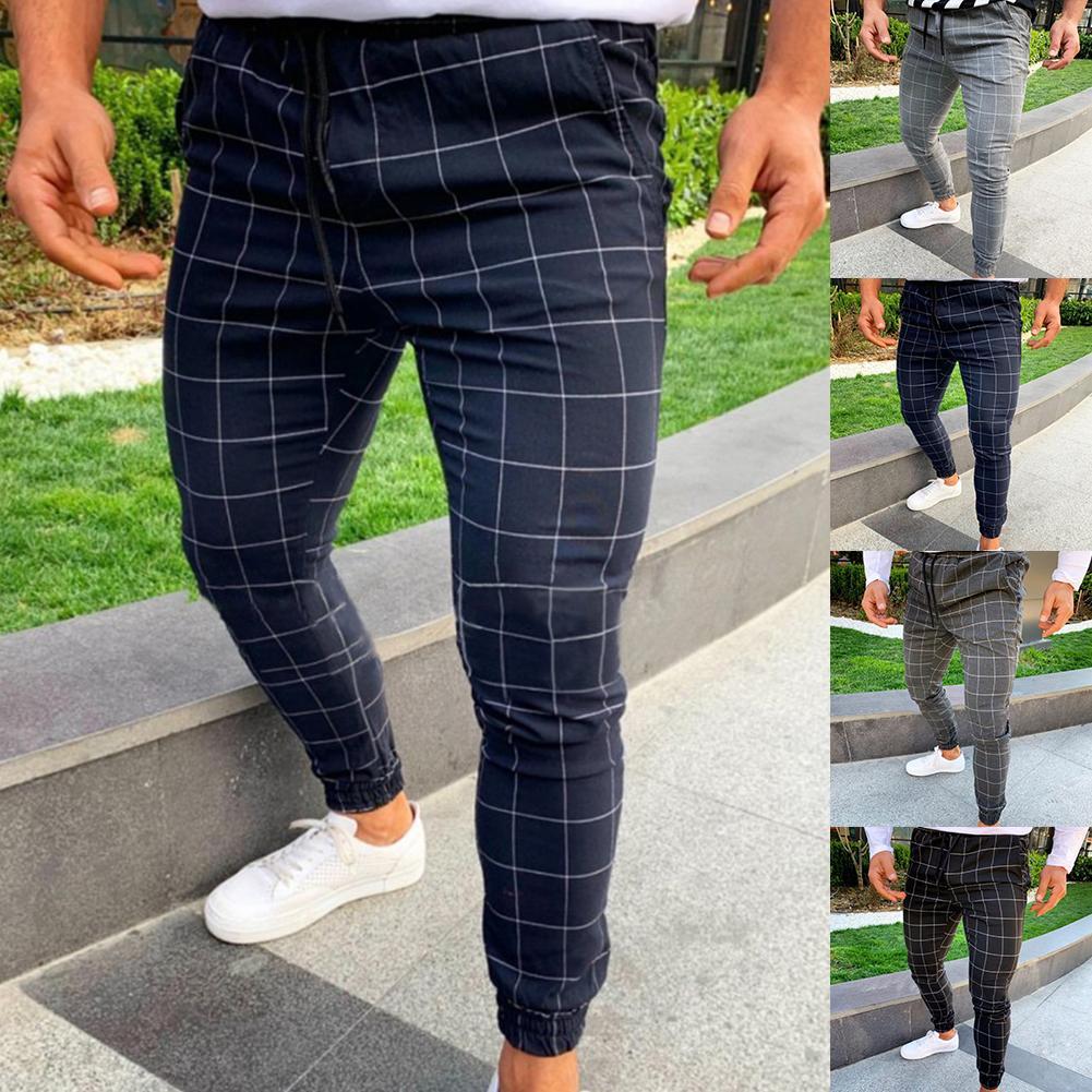Fashion Pants Men Plaid Print Drawstring Elastic Casual Pencil Pants Trousers