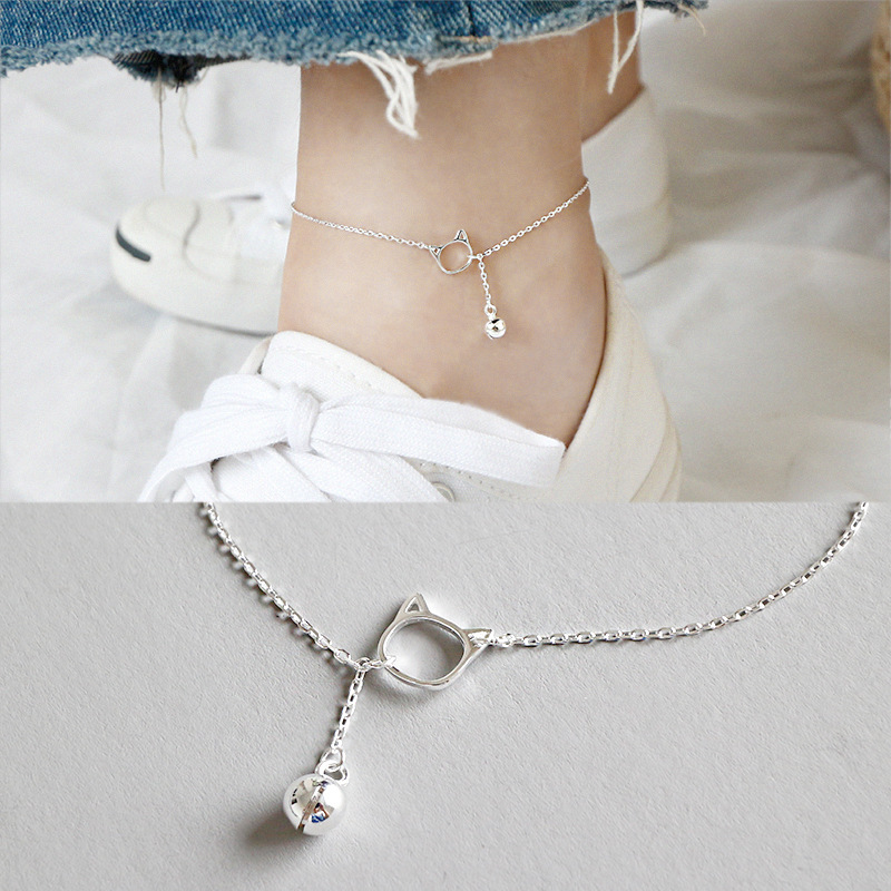 Fashion 100% S925 Sterling Silver Cute Cat Anklets Small Bell Foot Chain Anklet bracelet Fine Silver Woman Beach Party Gift thumbnail