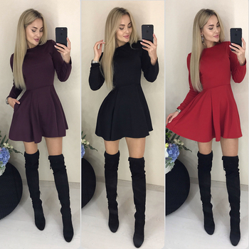 Autumn Long Sleeve Sexy a Line Party Dress Ladies Office Work Basic Shirt Dress 2019 Fashion Elegant Mini Dress Winter Vestidos 4