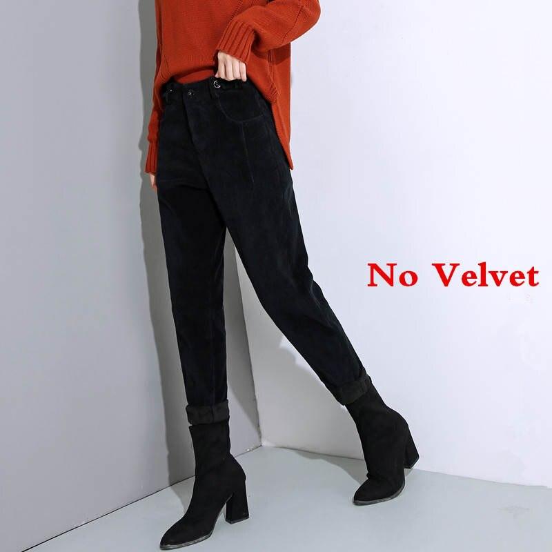 Autumn Winter High Waist Corduroy Harem Pants Women Plus Size Loose Black Pants Women Long Plus Velvet Trousers Sweatpants C5803 29