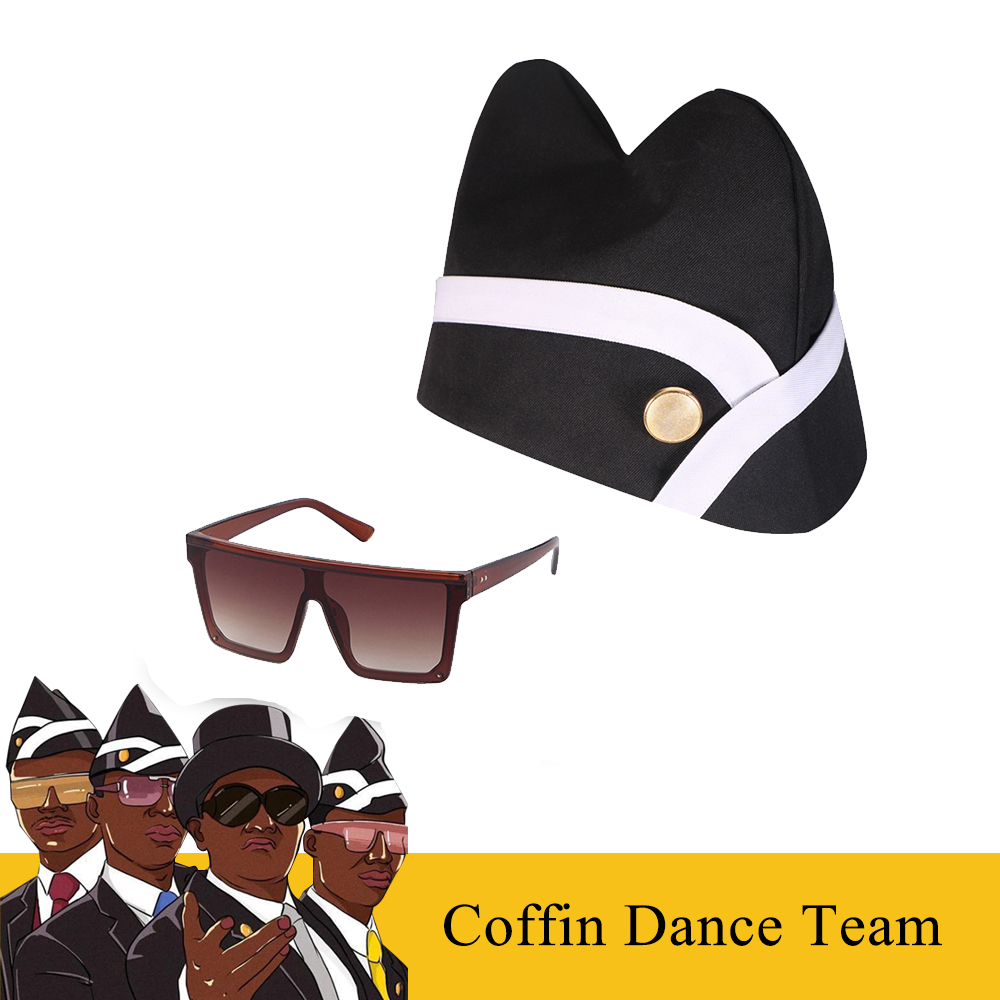 Hot Ghana Dancing Pallbearers Cosplay Props Coffin Dance Team Costume Hat Funeral Professional Team Cap Glasses Ribbon