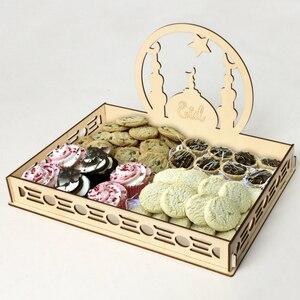 Image 2 - 2020 DIY Wooden Dessert Tray EID MUBARAK Decor for Home Ramadan Decor Pendants Islamic Muslim Party Decor Eid Al Adha