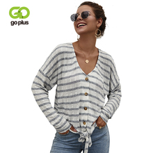 Sweaters GOPLUS Buttons V-Neck